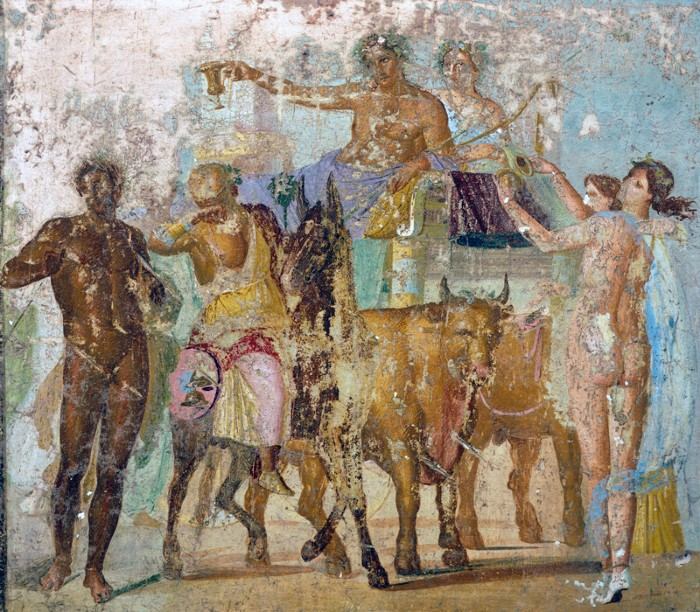 Wall painting depicting the Triumph of Bacchus, from the House of Marcus Lucretius Fronto, Pompeii.
