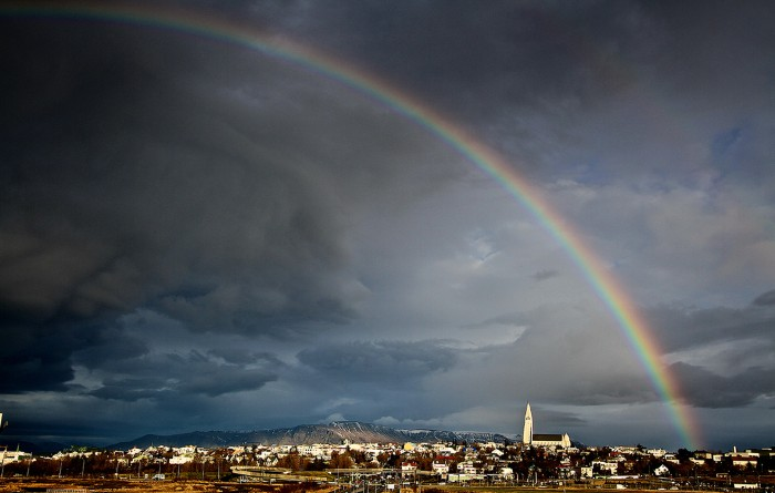 A rainbow over Reykjavik as seen from the deCODE genetics facility