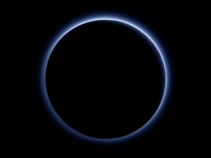 Pluto's blue sky.