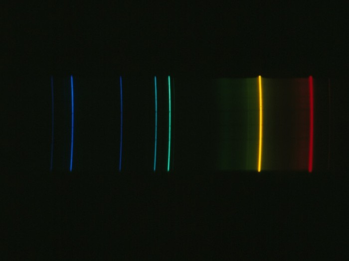 Emission spectrum of helium.