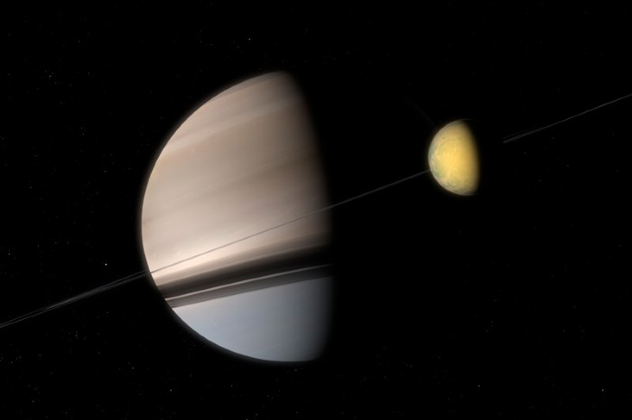 Artist's impression of Saturn and Titan
