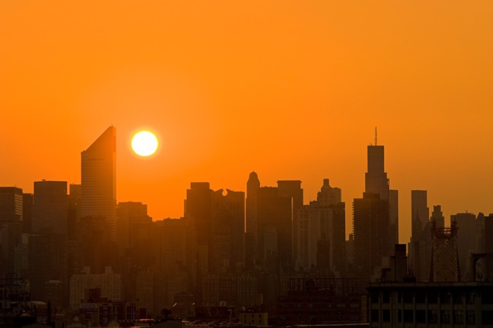 Skyline of Midtown Manhattan at sunset.