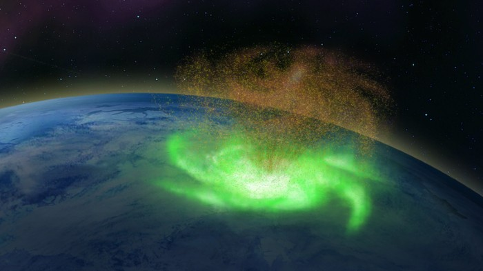 Illustration of a space hurricane over the Earth's polar ionosphere
