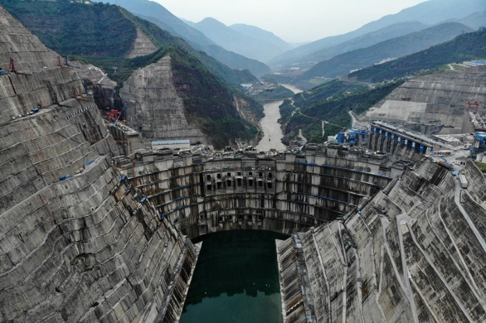 Aerial view of Baihetan hydropower station, China