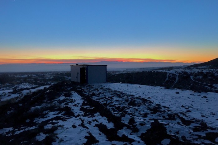 The temporary imaging lab on the mountain in Xinjiang province, China