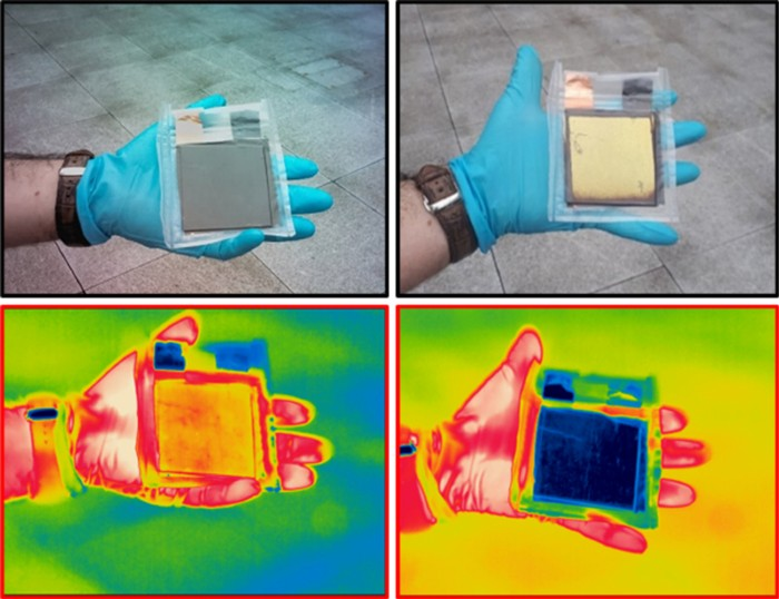 Visible and infrared images of the device in fully discharged and charged states
