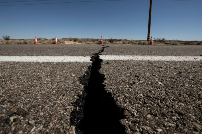 A crack in the road after an earthquake, Southern California