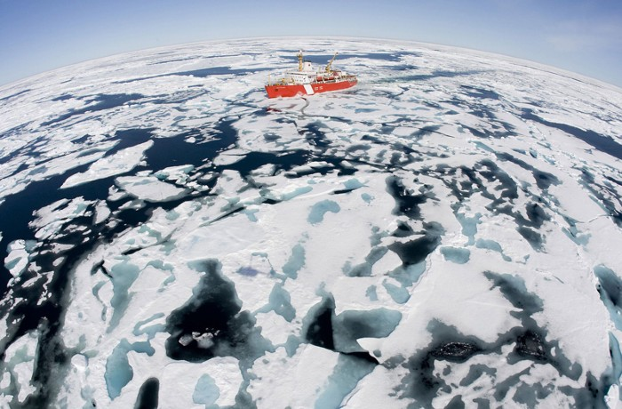 The Canadian Coast Guard ice-breaker Louis S. St-Laurent makes its way through the ice in Baffin Bay