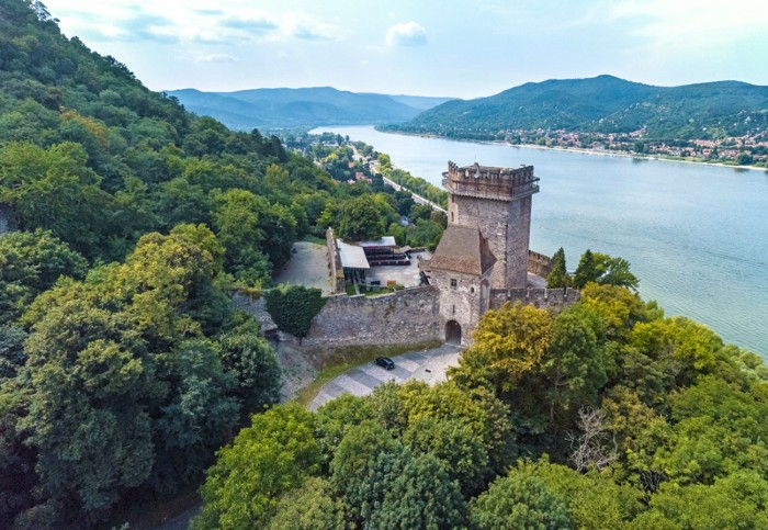Aerial view of the Salamon tower, part of the 13th century Visegrád castle ruins, on the banks of the river Danube, Hungary