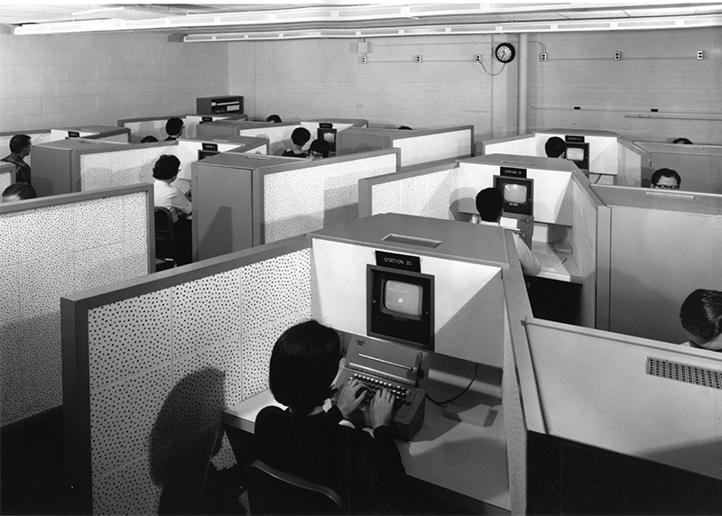Students using the PLATO teaching computers. University of Illinois, circa 1969.