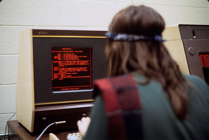 A student uses a PLATO terminal at the University of Delaware in 1978.
