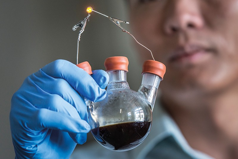 A researcher looks at a flask containing a dark liquid
