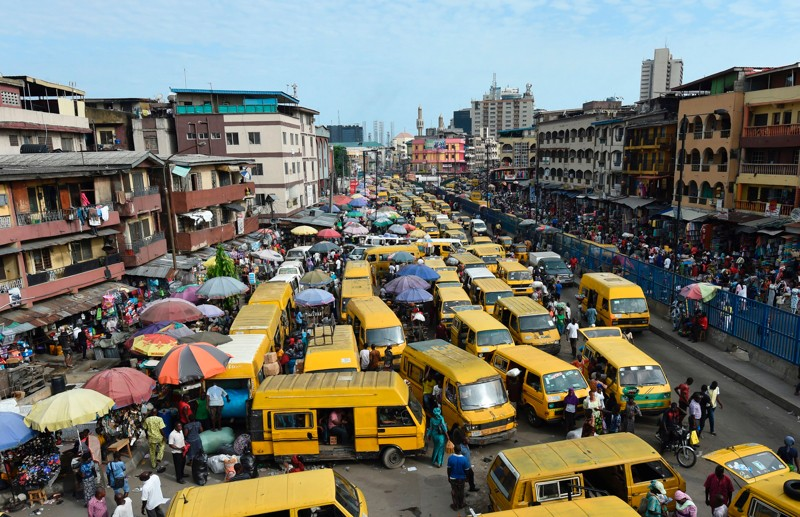 Picture of crowded street in Lagos, Nigeria