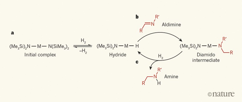 Simplified hydrogenation mechanism for catalysts that contain alkaline-earth metals