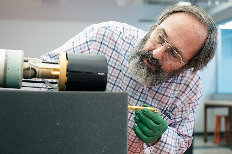 Gerald Gabrielse in his lab at Northwestern University, USA.