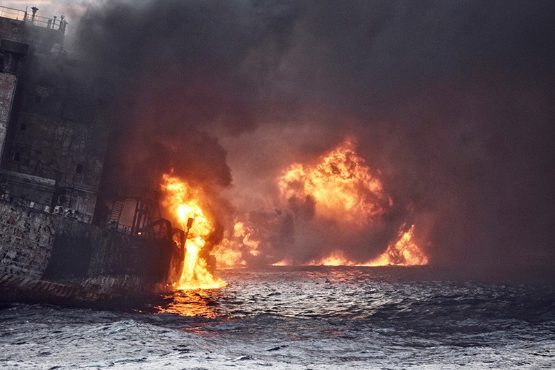 Burning oil tanker Sanchi