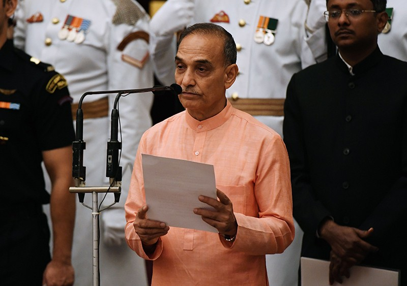 Satyapal Singh takes the oath during the swearing-in ceremony of new ministers in New Delhi, 2017.