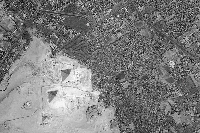 Satellite image of pyramids at Giza