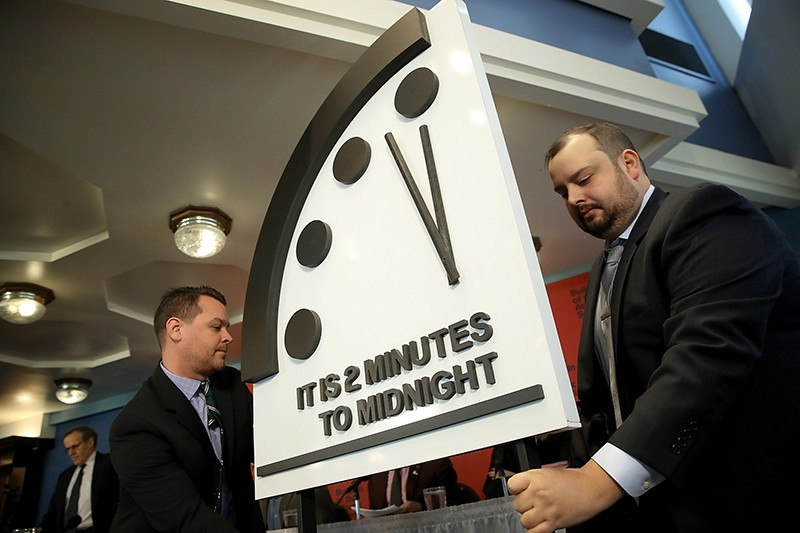 The 2018 doomsday clock is unveiled in Washington DC with the hands moved to two minutes to midnight.