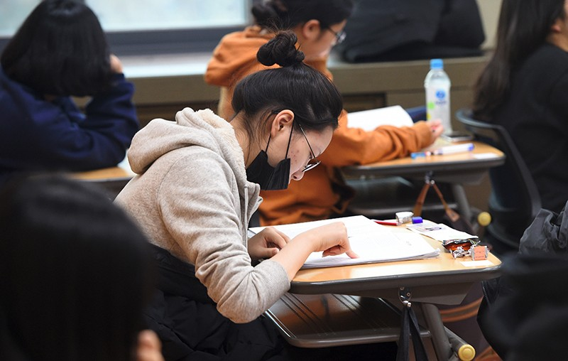 Students preparing to take the annual College Scholastic Ability Test in Korea, 2017.
