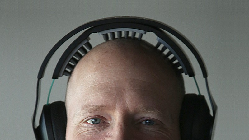 Halo Neuroscience CTO Brett Wingeier wears a Neuropriming headset