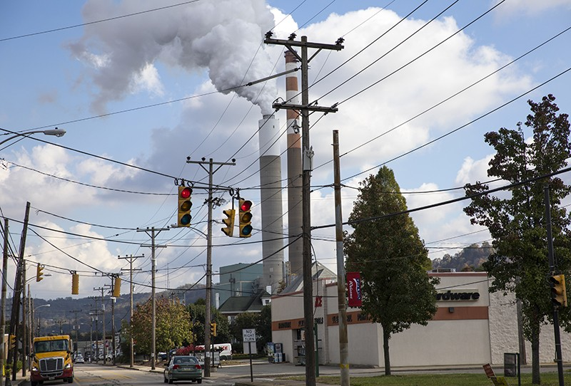 A view of the smoke stack of the 47-year old Cheswick coal-fired power plant in Springdale, Pennsylvania.