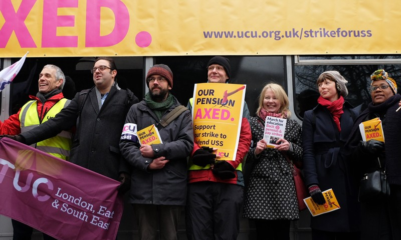 Demonstrations on the picket line at University College London