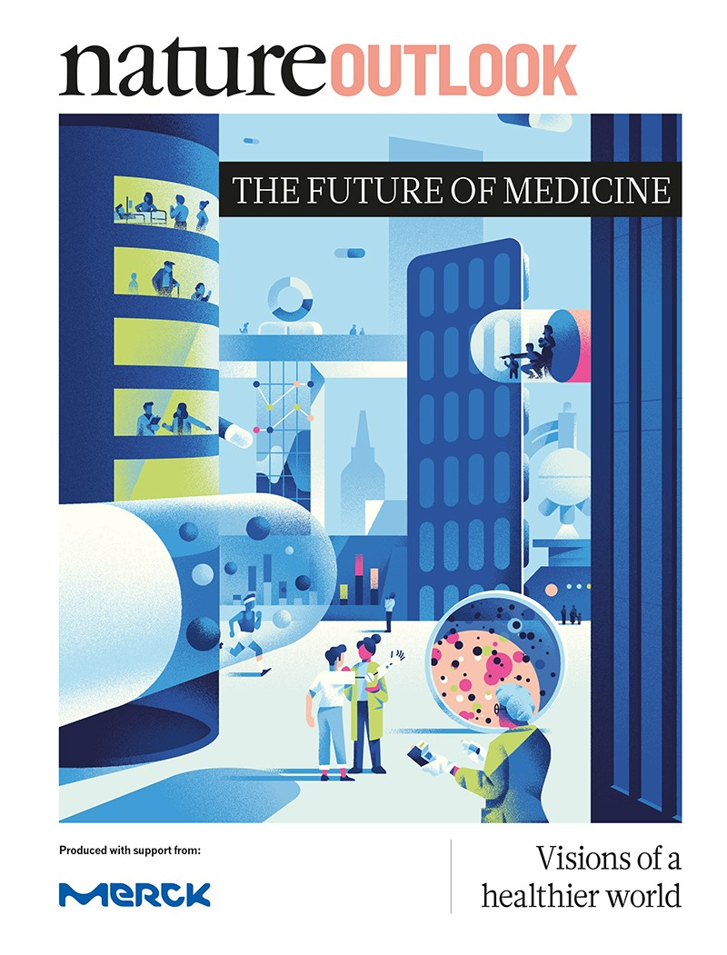 Nature Outlook: The future of medicine print cover. An illustrated futuristic cityscape with imagery from medicine and research.