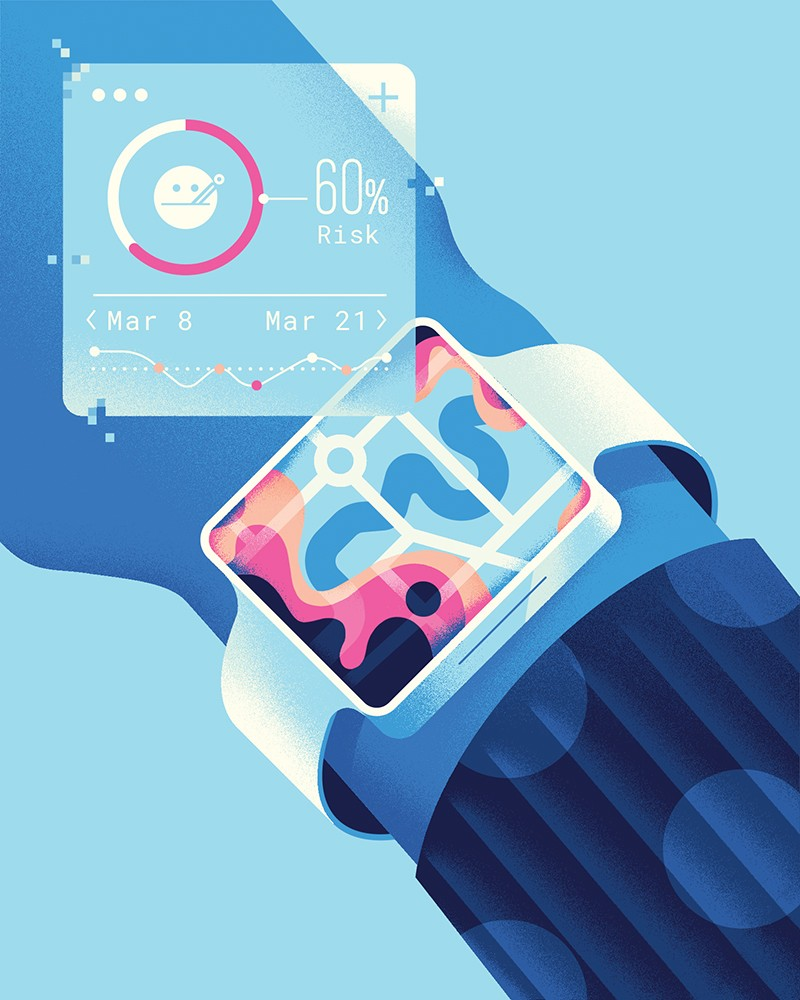 Illustration of a flu-outbreak forecast display on a smartwatch.