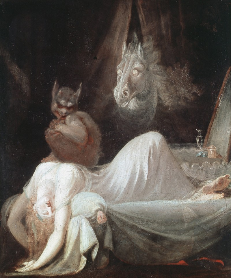 The Nightmare, a painting by Henry Fuseli: a white woman lies on a bed with a demon on her chest. A demonic horse stands behind.