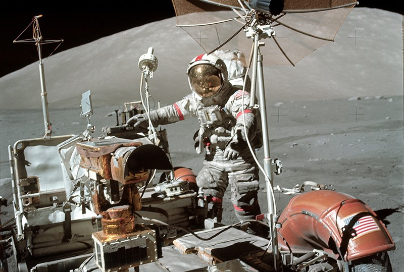 Astronaut Eugene A. Cernan, Apollo 17 commander, on the moon.