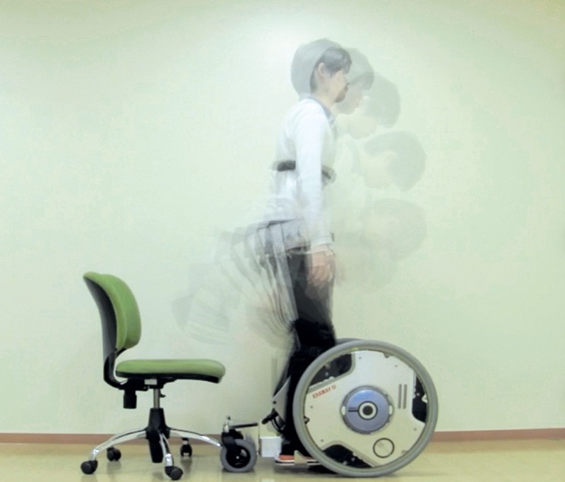 In-motion image showing multiple positions of a man getting on the wheelchair.