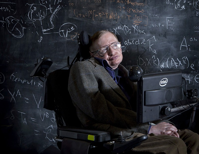 Professor Stephen Hawking at Cambridge in 2013.