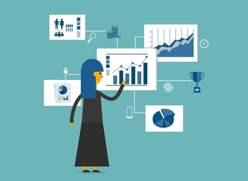 Illustration of woman looking at data plots