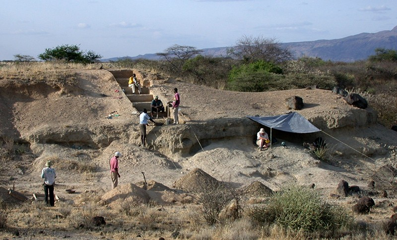 Researchers from the Smithsonian Institution digging in the Olorgesailie Basin in Kenya.