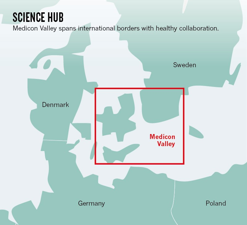 Map showing location of Medicon Valley in Scandinavia.