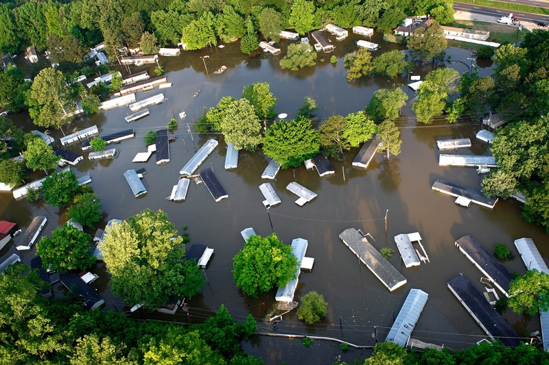 Mobile homes in high floodwater