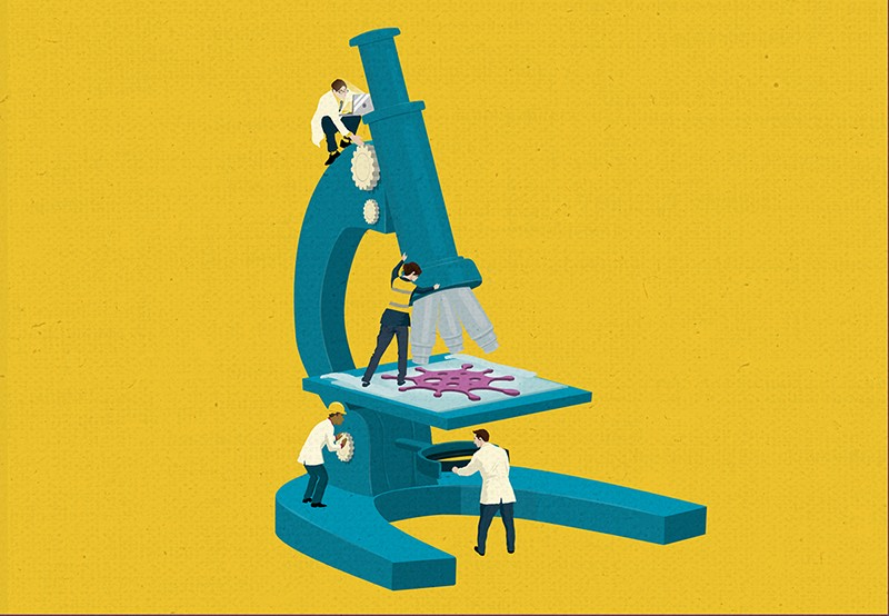 Artistic illustration of miniature scientists working with a microscope