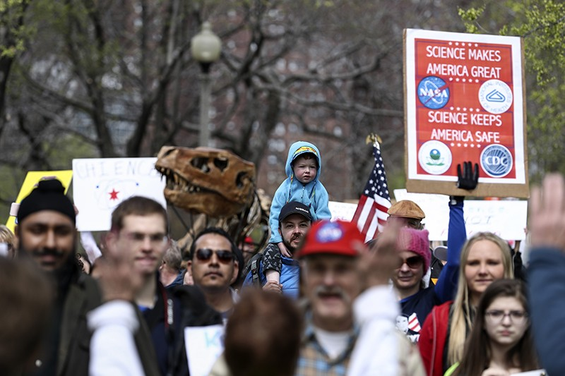 Tens of thousands participate in the March for Science in Chicago, United States on April 22, 2017.