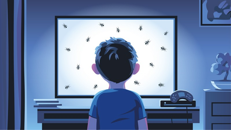 Illustration of boy watching screen with ants