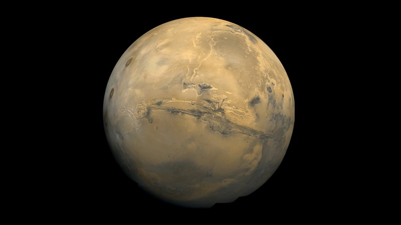 View of the grand valley, Valles Marineris on the surface of Mars