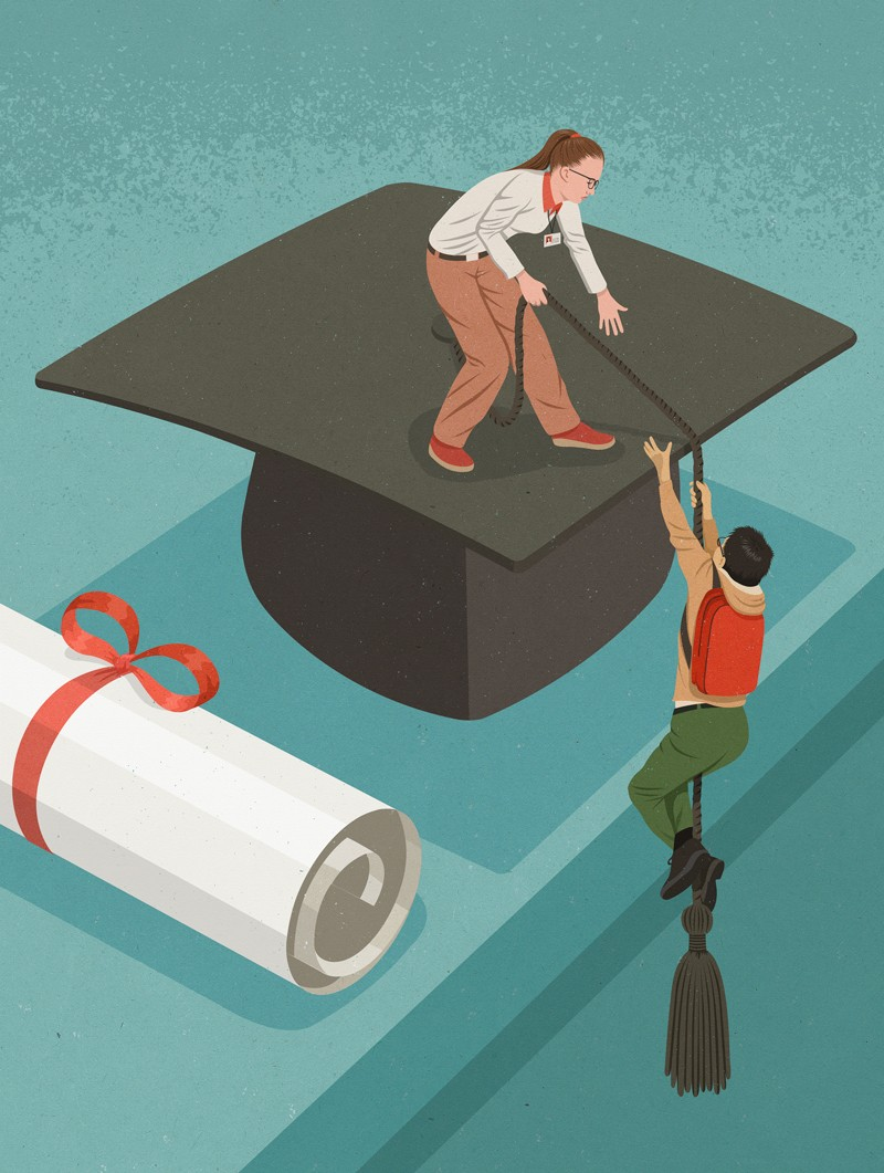 Illustration of someone helping a student climb onto a mortar board