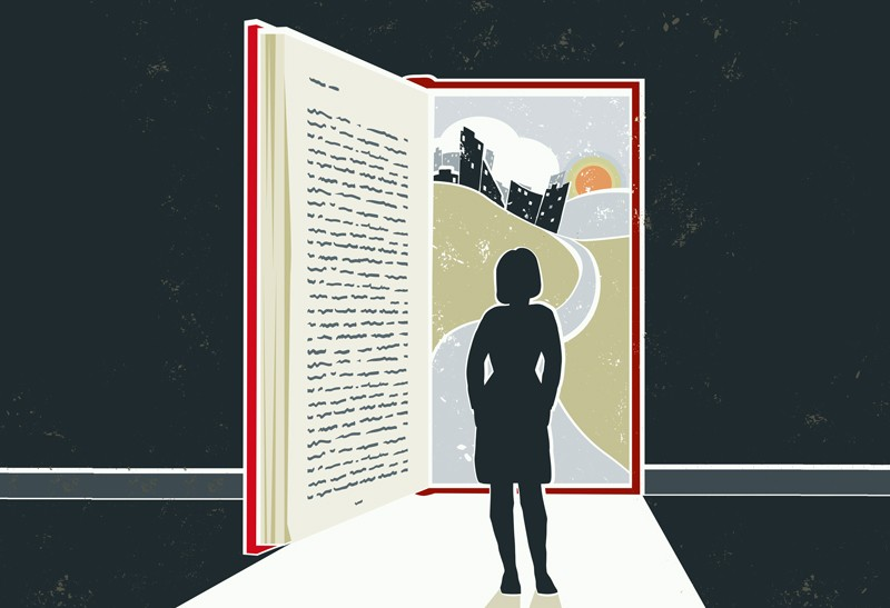 Illustration of woman reading a book