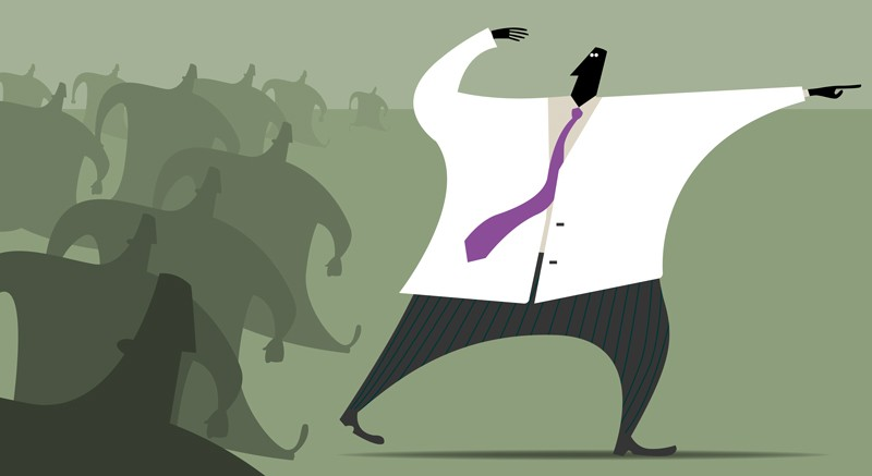 Illustration of scientist leading a crowd