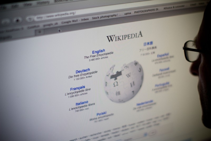Internet browser viewing Wikipedia website