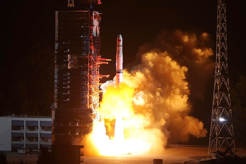 A Long March-4C rocket lifts off from China carrying the Queqiao ('Magpie Bridge') satellite on the 21st May 2018.