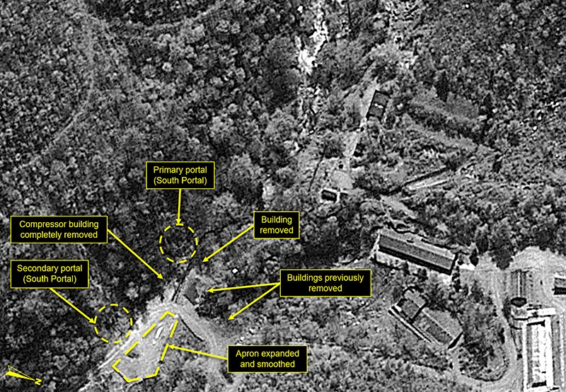 Black and white satellite image of Punggye-Ri nuclear test site, with labels marking recent changes.