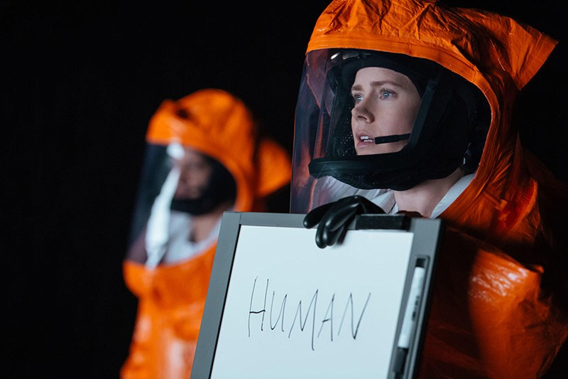 Louise Banks (played by actor Amy Adams) attempts to communicate with aliens in the 2016 film 'Arrival'