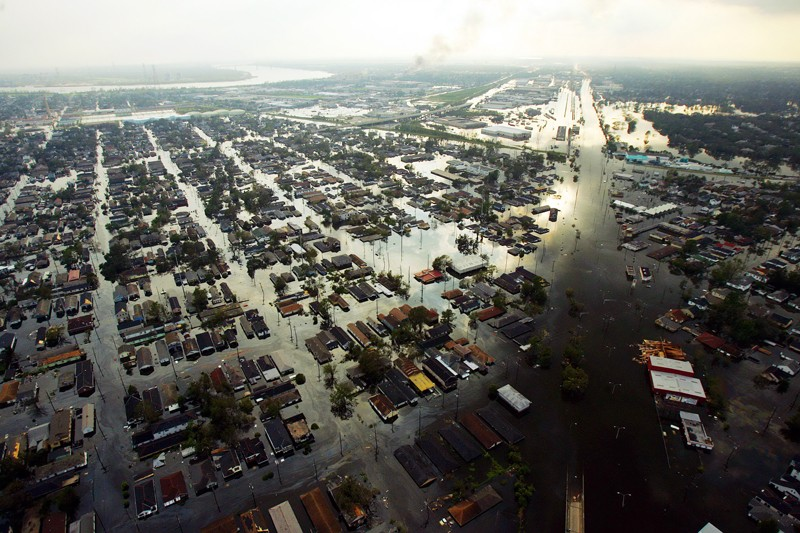 Aerial view of New Orleans flooded in the aftermath of Hurricane Katrina