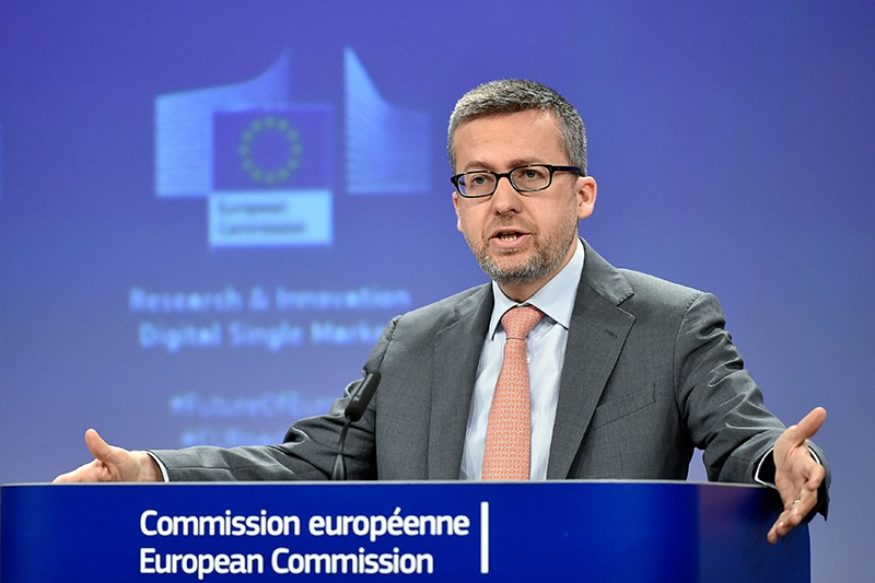 EU Commissioner of Research and Innovation Carlos Moedas gestures as he speaks at a conference on May 15th 2018.